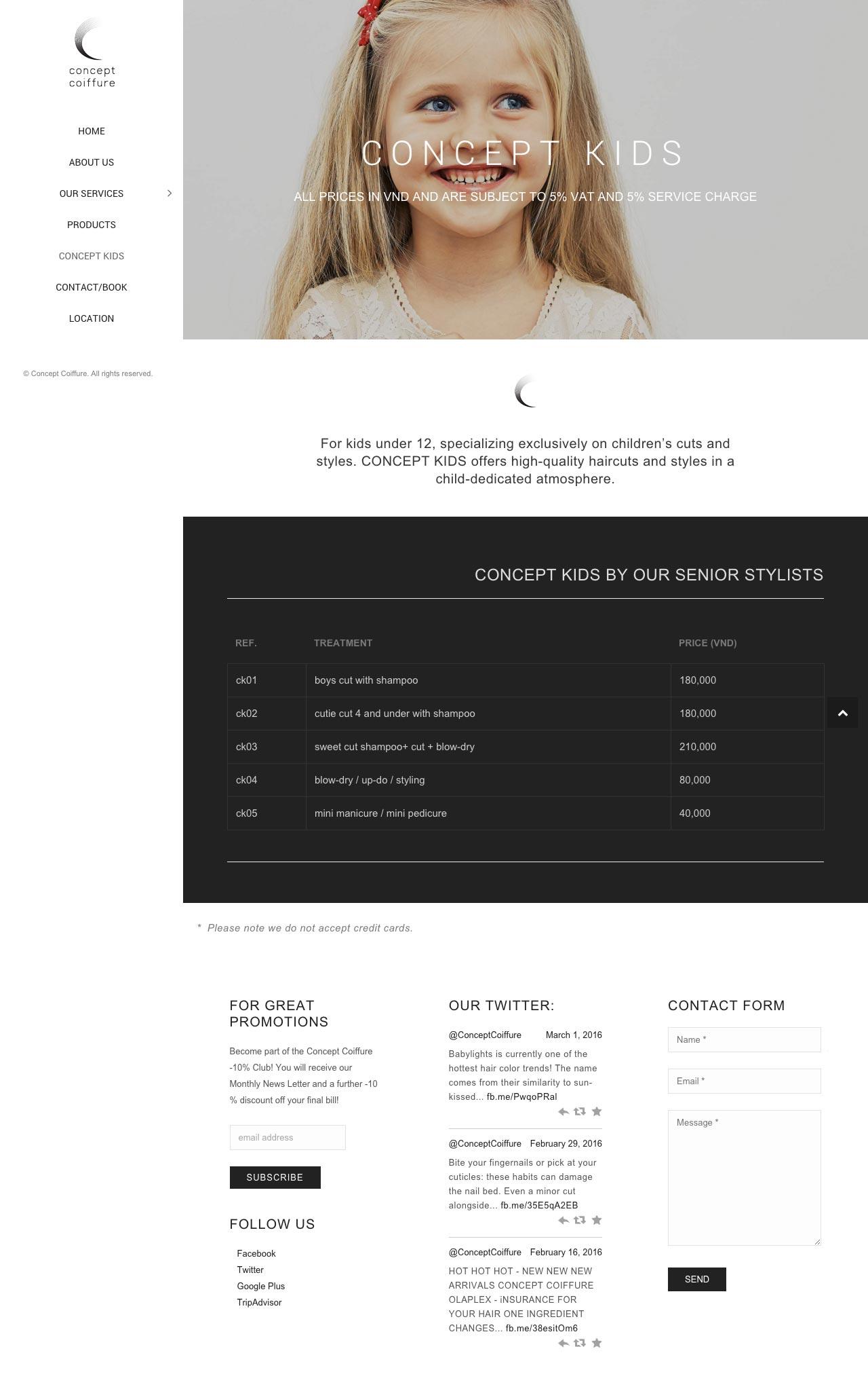 concept coiffure kids web page