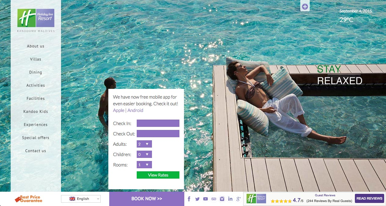 Holiday Inn Resort Maldives web design desktop
