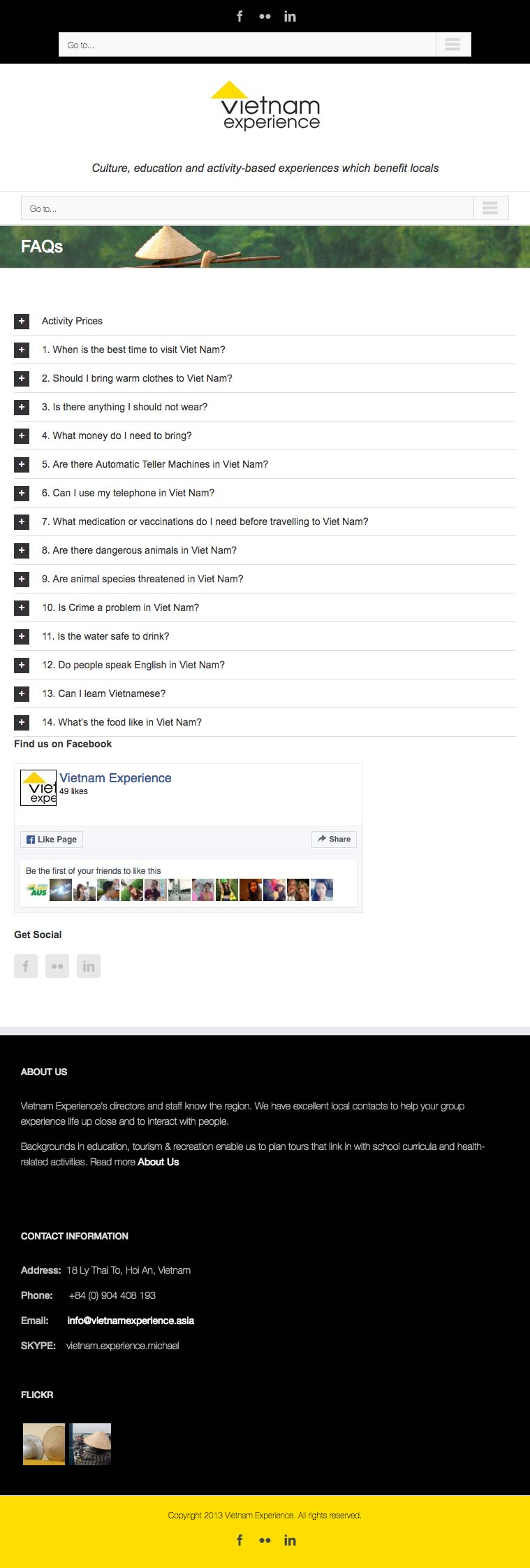 Vietnam Experience FAQ web page