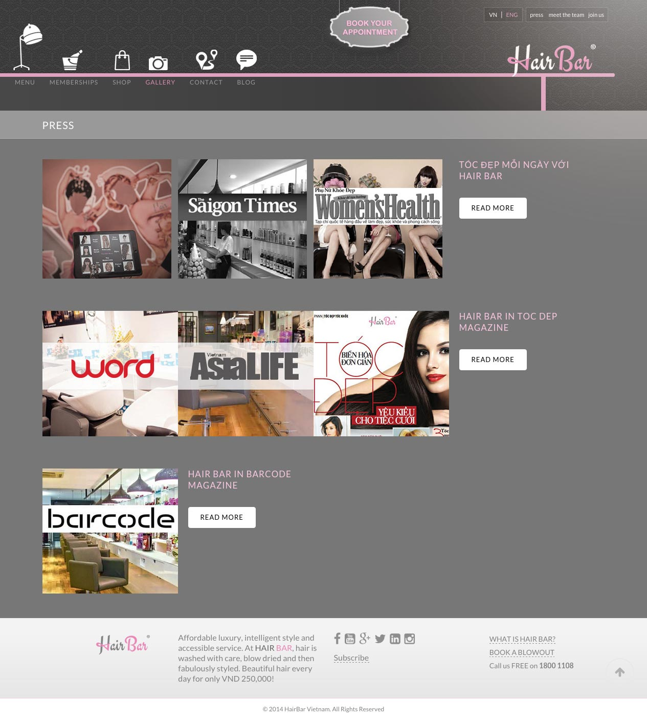 Hair Bar web design desktop