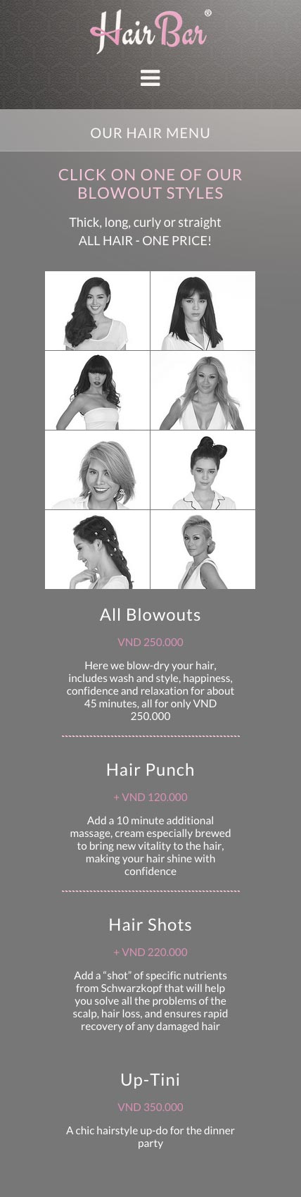 Hair Bar website mobile