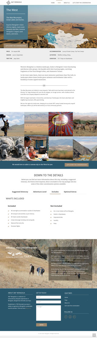 360° mongolia website trip template